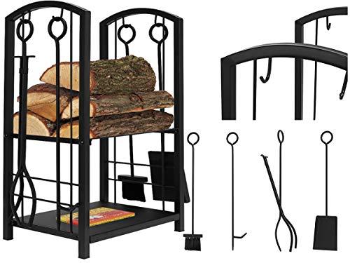 Holzkorb mit Kaminbesteck Korb Besteck Kaminzubehör schwarz Edelstahl 8785