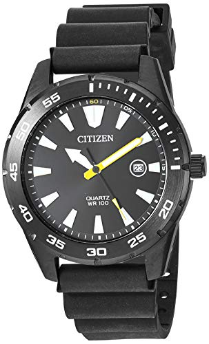 Citizen Men's Stainless Steel Japanese Quartz Polyurethane Strap, Black, 22 Casual Watch (Model:...