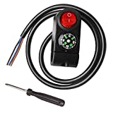Monrand 22mm 7/8' Motorcycle Handlebar Switch CNN Aluminum Alloy with Compass Led Control On Off Switch with Indicator Light 12V Universal for ATV Scooter Electric Bikes …
