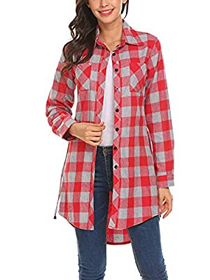 Hotouch Women's Roll Up Sleeve Slim Plaid Shirts Button Down Belted Shirt Dresses