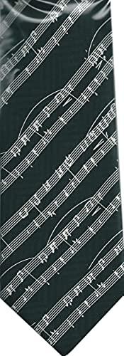 Diagonal Sheet Music White on Black 100% Silk Classic Tie