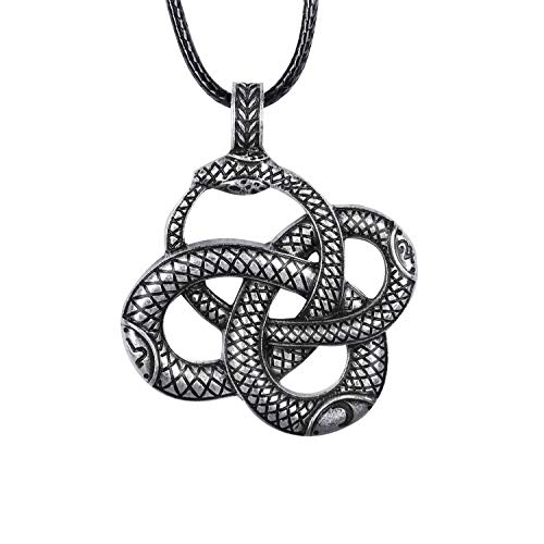 HAQUIL Celtic Ouroboros Serpent Snake Necklace, Faux Leather Cord, Snake Jewelry Gift