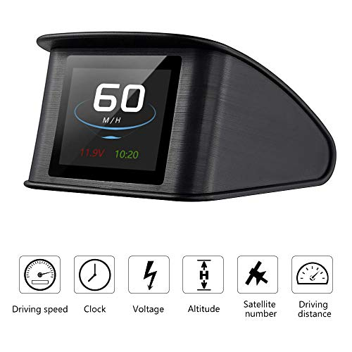 Powcan Auto Car HUD Head Up Display KMH/MPH GPS digital velocímetro inteligente con advertencia de voltímetro de alarma de sobrevelocidad, pantalla LCD TFT de 2.2 ''