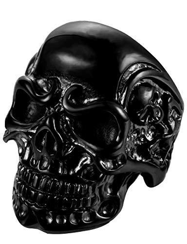 FIBO Anillos de acero inoxidable para hombres y mujeres, diseño con cabeza de calavera, color negro, talla 8 - 14