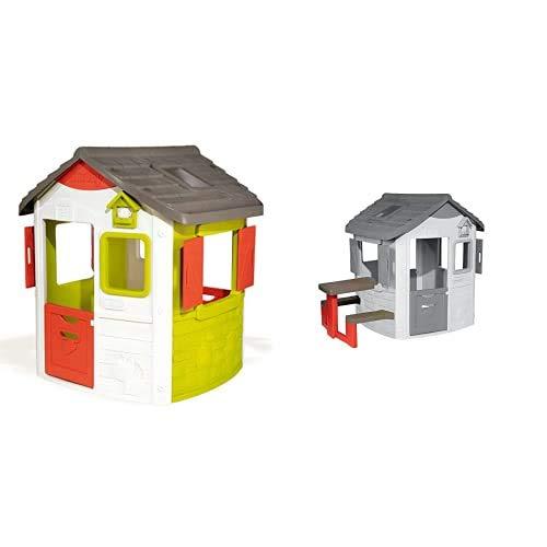 Smoby Casette Casetta Neo Jura Lodge 2 Anni 7600810500 & Casette Modulo Tavolo Pic Nic Con Panche 2 Anni 7600810902