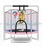 Trampoline for Toddlers - 5ft Outdoor & Indoor Mini Toddler Trampoline with Enclosure, Basketball Hoop and Bar, Birthday Gifts for Kids, Toddler Trampoline Toys, Age 1-8 (Pink)