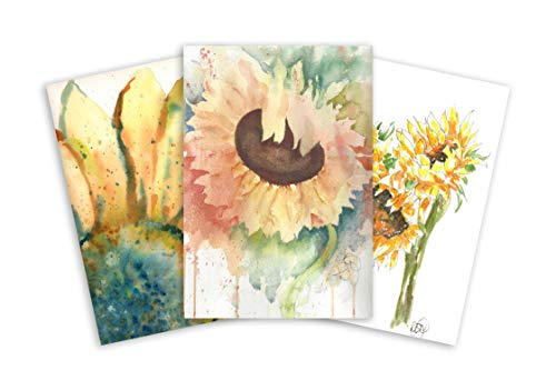 Sunflower Note Card Assortment: 3 Blank Artistic Watercolor Notecards, with Envelopes