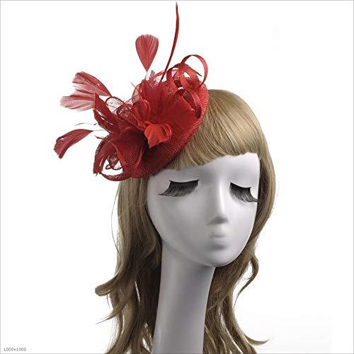 LTH-GD Gorra de Invierno y Sombrero For Mujer Fascinators Elegante Headwear Flor Pluma Diadema Sombrero Cóctel Tea Party Hat Boda Headwear Día Carrera Royal Ascot (Color : Red)
