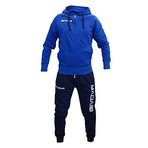 Perseo Sport Tuta Uomo Cotone Felpato Cappuccio Givova (XL, Azzurro/Blu)