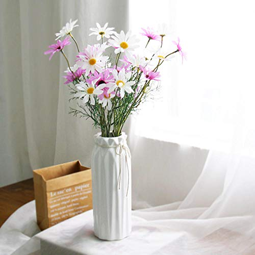 Simulation small daisy bouquet chamomile plastic fake flower holding photo silk flower living room dining table hotel home decoration-Pink bottle small + 3 white 3 yellow daisies