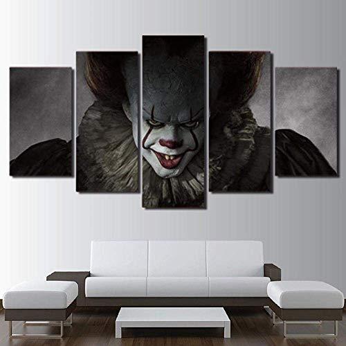 Airxcn Kreatives Geschenk 5 Panel Leinwand Wandkunst Leinwanddrucke Modernes Zuhause Wohnzimmer Dekoration Schlafzimmer Dekor Hd Print Poster Pennywise Joker Es schrecklich schrecklich