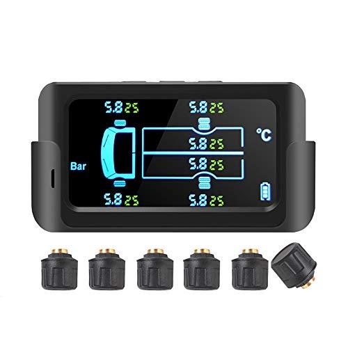 Yaootely Sistema de Monitoreo de PresióN de NeumáTicos de CamióN de 8.5 Bar, Pantalla LCD HD, EnergíA Solar USB, Alarma de PresióN de 800 MAh con Sensor Externo
