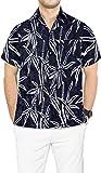 LA LEELA Hawaiien thème Plage imprimé Chemise Hommes fête Bouton île de Plage Manches vers Le Bas à Court Aloha Halloween Noir_AA121 S-Tour de Poitrine (in cms):96-101