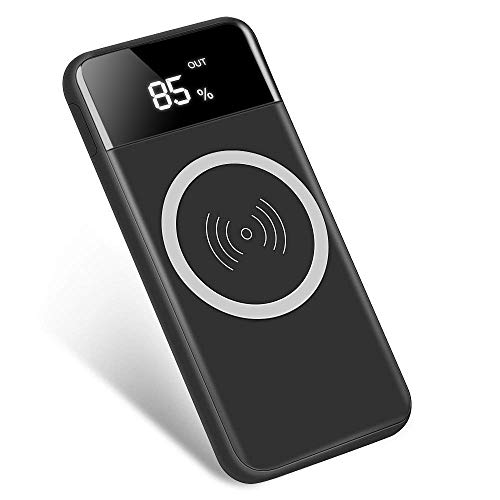 Qi Wireless Portable Charger, Hokonui 10000mAh Charging Power Bank with LED Digital Display External Battery Pack 2 in 1 for iPhone, Samsung Galaxy S9 Plus/S9, iPad,and More (Black)