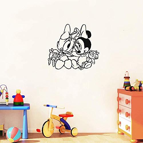 Vinilo decorativo Mickey y Minnie Mouse arte Daisy Duck y Minnie Mouse Bebés Animales de dibujos animados Calcomanías Pegatina para dormitorio Cuarto de niños Decoración de la habitación del bebé