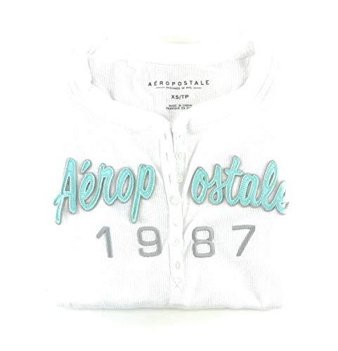 AEROPOSTALE Womens Long Sleeve Henley Shirt White Small