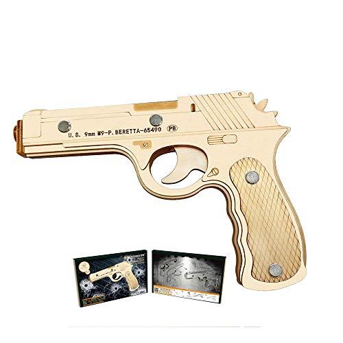 HFXZ2018 Holz-Konstruktion 3D-Puzzle Spielzeug, DIY Holz-Gewehr mit Gummibänder, Gun Modellbau Kits geeignet für Jungen, Mädchen Indoor-Aktivitäten