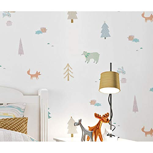 Telihome White Cartoon Tree Animal Kids Boy Dormitorio Rollo de Papel Pintado Para Habitación de Niños Pvc Y Vinilo Niños Papel de Pared Habitación de Bebé Revestimiento de Pared