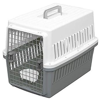 Iris Ohyama, Caisse de transport / cage transport, porte amovible avec 2 sens d'ouverture, emboîtable, bol inclus, pour chat & chien max 20 kg - Air Travel Carry ATC-670 - Gris