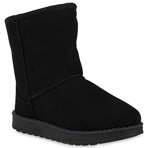 Damen Schuhe Schlupfstiefel Warm Gefütterte Stiefel Profilsohle Boots 153386 Schwarz Cabanas 36 Flandell