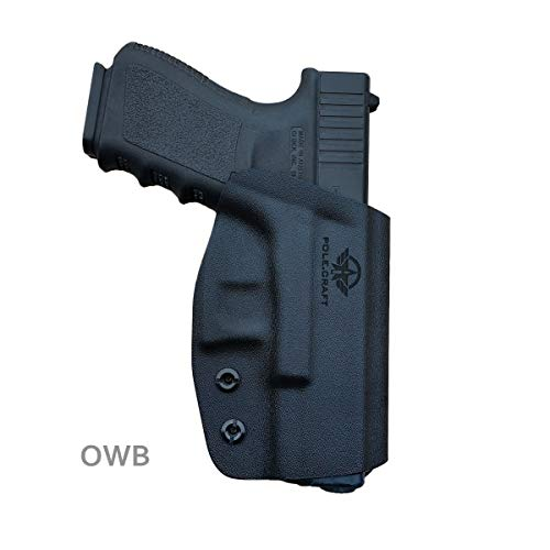 "Glock 19 Holster OWB Kydex For Glock 19 19x / Glock 23 25 32 45 / Glock 17 22 31 / Glock 26 27 33 30s (Gen 3 4 5) CZ P10 Pistol Case Waistband Outside Carry 1.5""-2"" Belt Clip - Black, Right Hand Draw"