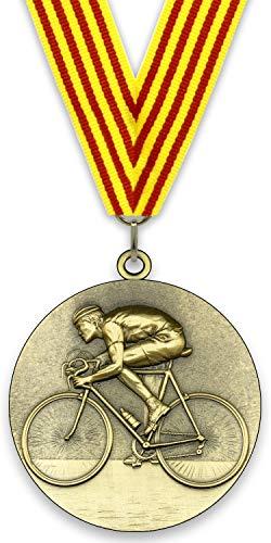 Medalla de Metal Personalizable - Ciclismo - Color Oro - 6,4cm - Cinta Incluida - Colores de Cinta - Cuatribarrada
