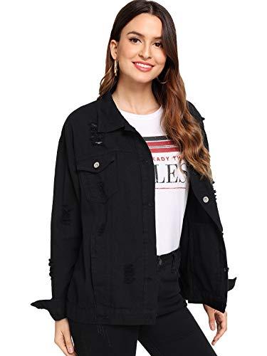 Floerns Women's Ripped Distressed Casual Long Sleeve Denim Jacket Black Ink XL