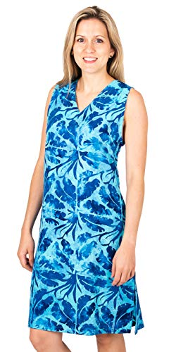 Treasures of Bali Rayon Sleeveless Beach Sundress in Assorted Prints (Royal Palms, X-Large)