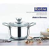 Rayline Spirit Serie Edelstahl Topf 24 cm Ø mit Deckel - Höhe: 13 cm - Volumen: 6 Liter, aus...