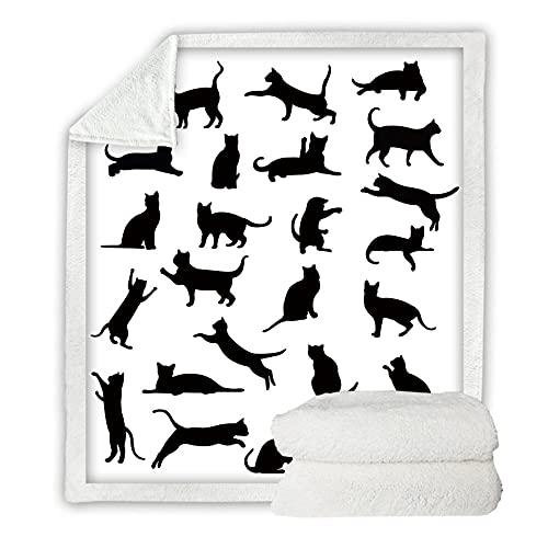 Microfibra Sofá de La Manta Gatito Negro, Blanco 3D Manta Estampado Caliente Suave para Ropa de Cama, Sofá, Camping, Viajar Mantas 150X200Cm