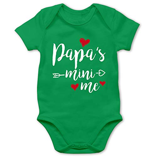 Shirtracer Vatertagsgeschenk Tochter & Sohn Baby - Papas Mini Me - 1/3 Monate - Grün - Body Baby Junge - BZ10 - Baby Body Kurzarm für Jungen und Mädchen