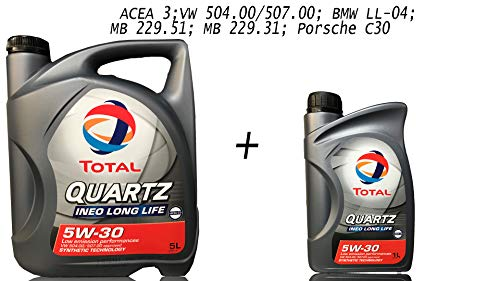 Total 5W30 Quartz Ineo Longlife 5 + 1 Liter Motoröl