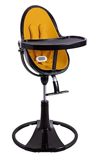 BLOOM Fresco Loft Chrome Noir Chaise haute avec kit de démarrage (coussin) Marigold Yellow