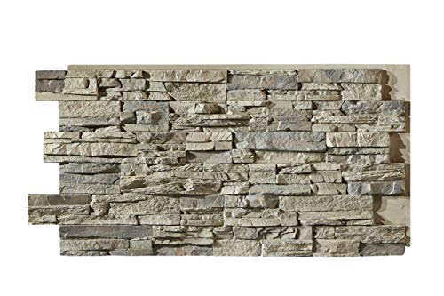 """Sedona Faux Stone Panels - Slate Gray - 1-Pack - Each Panel is 24"""" High x 48"""" Wide x 1 5/8"""" Thick - Highest Quality, Most Realistic Looking Panels on The Market"""