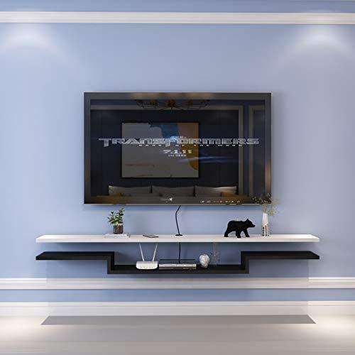 Étagère Flottante Étagère Murale Étagère TV Murale Set Top Box routeur Lecteur de DVD Étagère de projecteur étagère d'affichage Multifonctions (Couleur : White Black, Taille : 140cm)