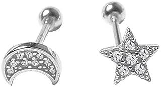 Cute Mini Moon Star Cartilage Tragus Screw Back Stud Earrings for Women Teen Girls Sterling Silver Asymmetrical CZ Crystal Earring Ear Piercing Cubic Zirconia Studs Hypoallergenic Jewelry