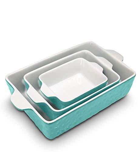3-Piece Nonstick Ceramic Bakeware Set - PFOA PFOS PTFE Free Baking Tray Set w/ Odor-Free Ceramic Non-stick Coating, 446°F Oven Safe Microwave/Dishwasher Safe Rectangular Baking Pan - NutriChef NCCREX3