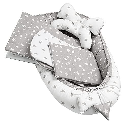 Solvera_Ltd 5 piezas 100 % algodón nido bebé 90 x 50 pieza extraíble cama nido cama nido manta para bebé (estrellas gris)