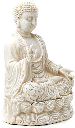 Bellaa 23279 Buddha Statues Blessing Sitting Meditating Antique White 12 Inch