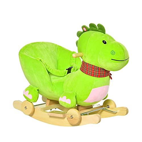 homcom Cavallo a Dondolo con Ruote, Cavalluccio a Dondolo a Forma di Drago per Bambini 18-36 Mesi, in Legno e Peluche Verde