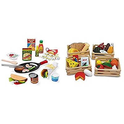 Melissa & Doug Fill & Fold Taco & Tortilla Set (Play Food, Sliceable Wooden Mexican Play Food, Skillet & More, 43 Pieces, Great Gift for Girls and Boys - Best for 3, 4, 5 Year Olds and Up) by Melissa & Doug