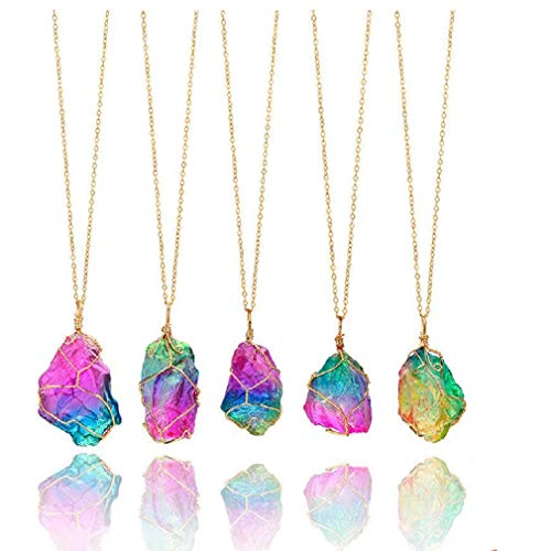 firstfly Rainbow Stone Pendant Necklace, Irregular Quartz Stone Pendant Crystal Gemstone Necklace Clothes Chain Necklace for Women (Rainbow) (Rainbow Color Stone Necklace)