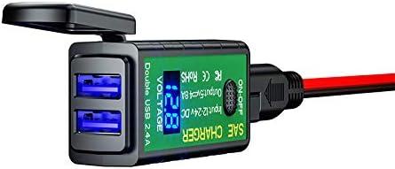 YGL 12V/24V Chargeur USB Moto étanche,SAE à USB Adaptateur avec Interrupteur et LED Voltmètre,pour Téléphones, iPad, GPS