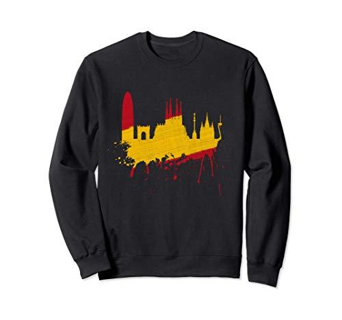Barcelona Skyline Spanien Flagge Fahne Liebe Sagrada Familia Sweatshirt