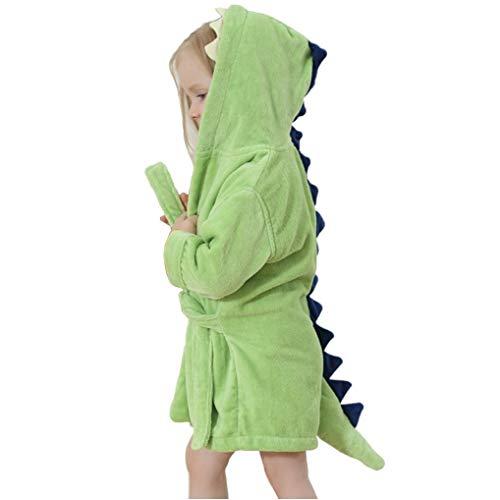 Kinder Robe Bademantel Dinosaurier Elefant Fleece Plüsch Mit Kapuze Bademantel Kinder Schlafanzug Jungen Nachtwäsche (Grün, L=135cm (6-8Years))