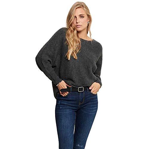 ONLY Damen ONLDANIELLA L/S KNT NOOS Pullover, Grau (Dark Grey Melange Detail: W.Melangé), 36 (Herstellergröße: S)