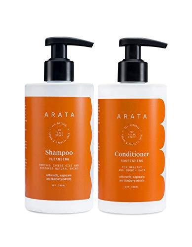 Glamorous Hub Arata Natural Oil Control Happy Hair Duo para mujeres y hombres con champú y acondicionador limpiador Oil Control   Totalmente natural, vegano y libre de crueldad
