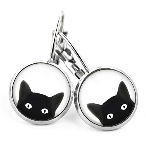 SCHMUCKZUCKER Damen Ohrhänger mit Motiv Freche Katze Modeschmuck Ohrringe Katzen silber-farben schwarz