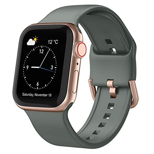 Compatible con Apple Watch Band 40 mm 38 mm, correa de repuesto de silicona suave con cierre clásico para iWatch Series SE 6 5 4 3 2 1 para mujeres y hombres, vino 38/40 mm (verde oliva, 38/40 mm)