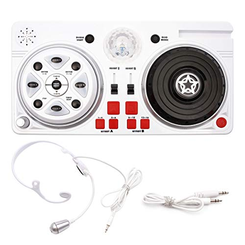 Anladia DJ Party Mixer Turntable Creative Toy for Kids, Children DJ Set, Microphone, Earphone, Sound Effects, LED Disco Ball, Light Show for Birthday Children